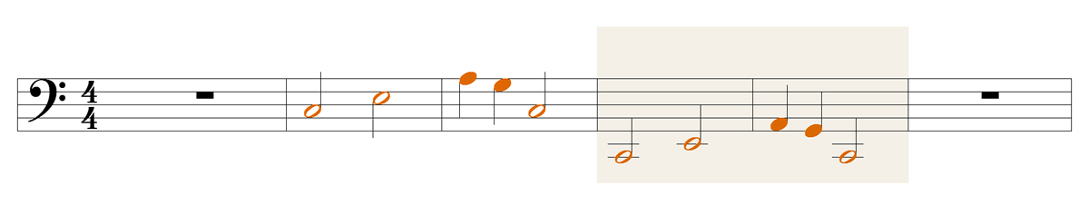 This melody drops one octave. It is also about one octave the sound of a voice of a young man drops during voice change.