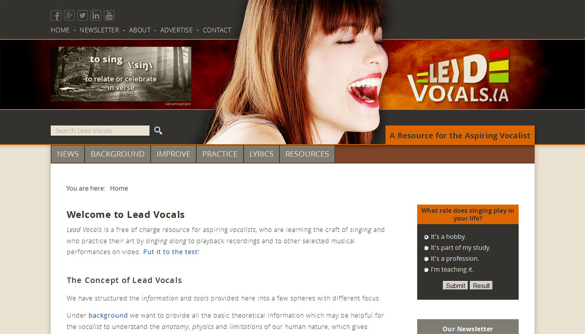 Our website at www.leadvocals.ca