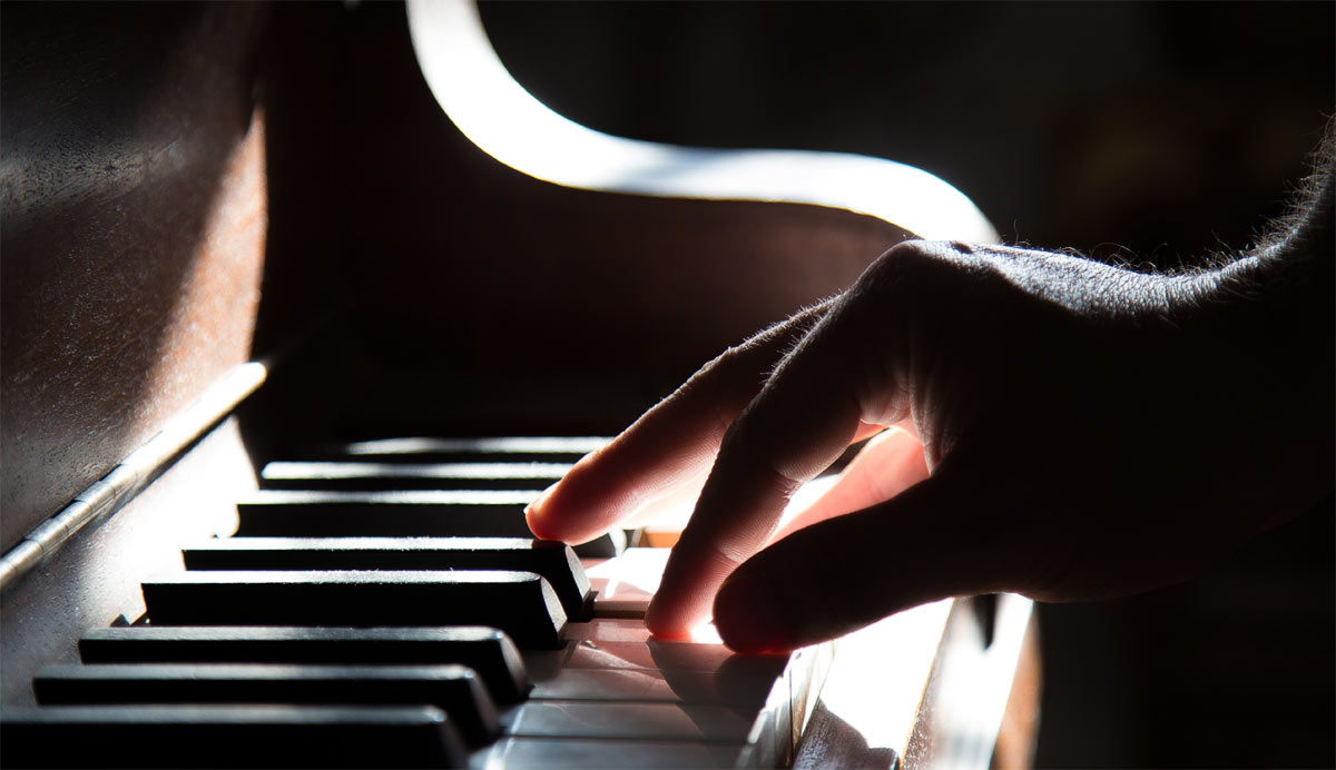 Practising with a piano at hand